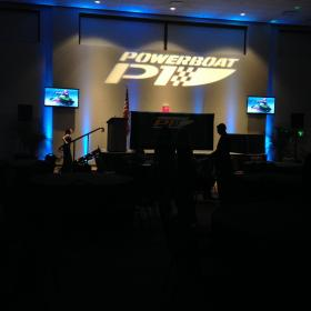 Awards Banquet with Company Logo and Lighting.